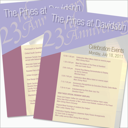 23rd Anniversary Celebration Events and Menu for The Pines at Davidson