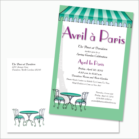 Invitation to the April In Paris themed annual Garden Party for The Pines at Davidson