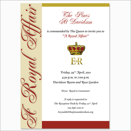 A Royal Affair invitation to the annual Garden Party for The Pines at Davidson