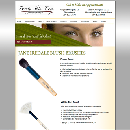 Beauty Skin Deep custom brushes page screenshot